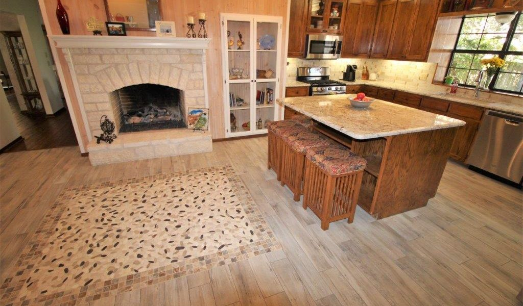remodeled kitchen and fireplce